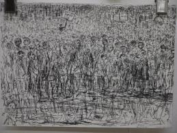 henry-cleaver-hand-drawing-of-crowd-of-people-in-pen